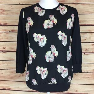 Ann Taylor Floral Front Sweater Black 3/4 Sleeves
